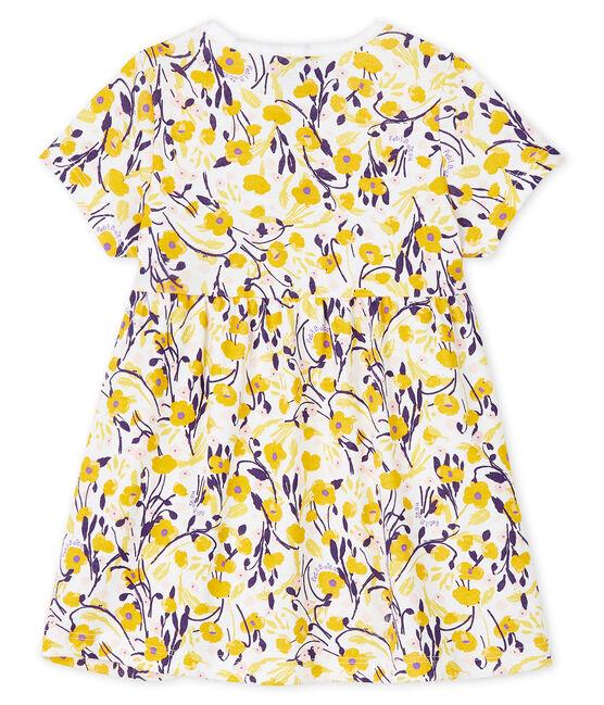 Baby girl's short-sleeved dress Marshmallow white / Multico white