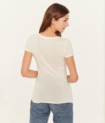 Women's short-sleeved v-neck iconic t-shirt Ecume white