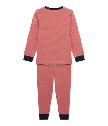 Boy's milleraies pyjamas Froufrou red / Coquille beige