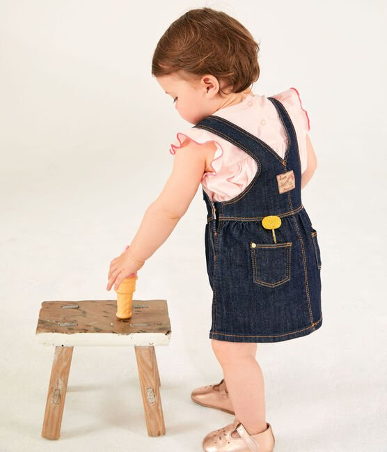 Baby girl's denim dungaree-dress Jean blue