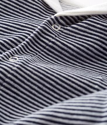 Baby Boys' Velour Sleepsuit Smoking blue / Marshmallow white