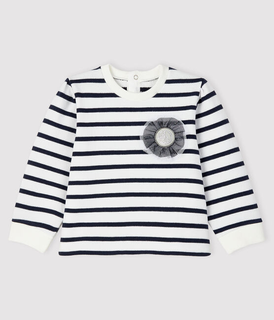 Baby girl's iconic sweatshirt Marshmallow white / Smoking blue