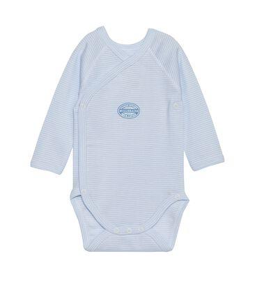 Newborn baby boy long-sleeve bodysuit in milleraies stripe Fraicheur blue / Ecume white