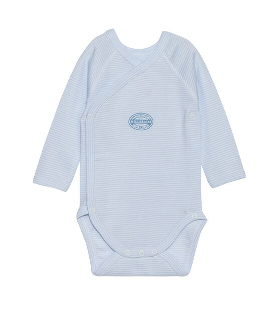 Newborn baby boy long-sleeve bodysuit in milleraies stripe Fraicheur blue / Ecume white