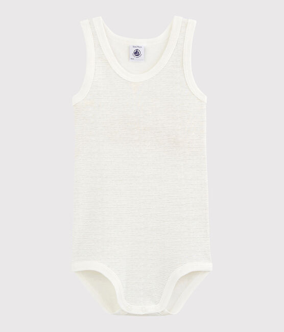 Unisex Babies' Sleeveless Bodysuit Lait white / Mistigri grey