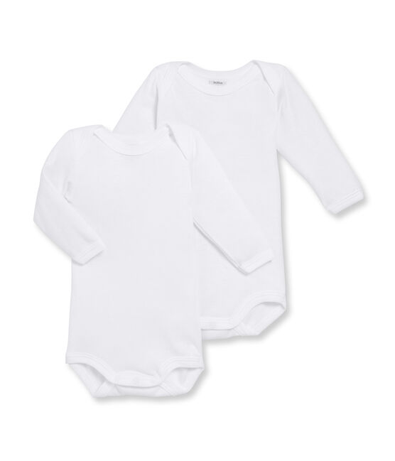Unisex Baby's Long-Sleeved Bodysuit - 2-Piece Set Marshmallow white