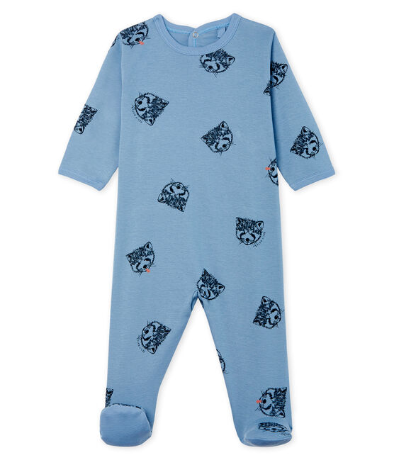 Baby Boys' Ribbed Sleepsuit Acier blue / Multico white