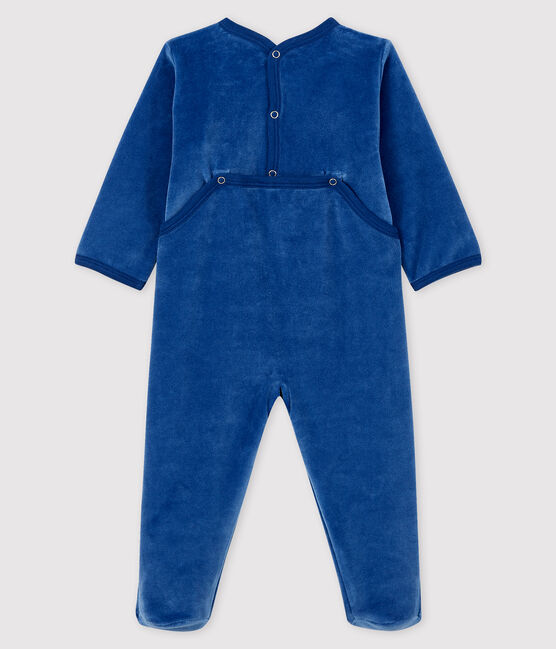 Babies' Blue Velour Sleepsuit Major blue