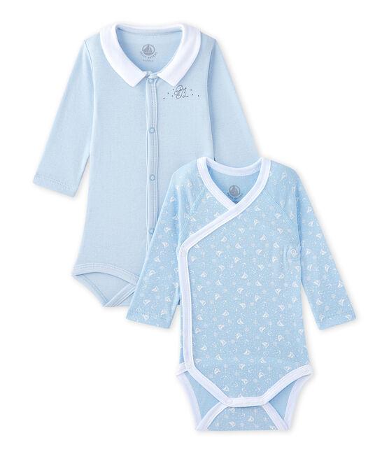 Set of 2 newborn baby girls' long-sleeved bodysuits . set