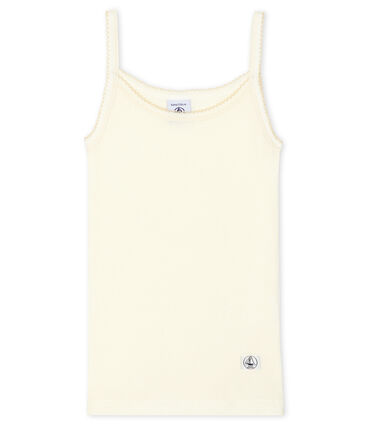 Girls' Strappy Top in Cotton/Wool/Silk Marshmallow white