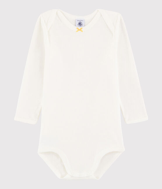 Baby Girls' Long-Sleeved Bodysuit Marshmallow white / Ble yellow