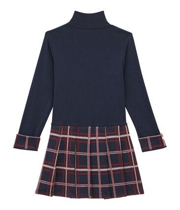 Girl's dual fabric polo neck dress Smoking blue / Multico white
