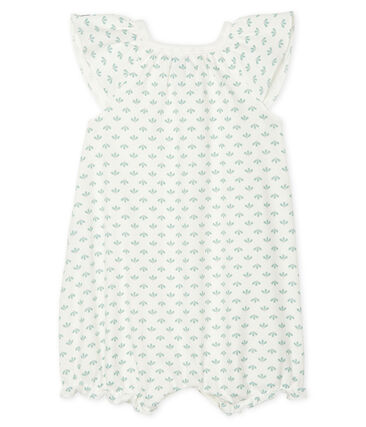 Baby Girls' Rib Knit Playsuit Marshmallow white / Multico white
