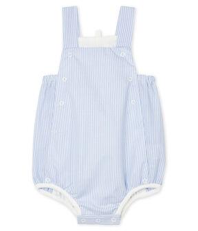 Unisex Baby's Striped Poplin Playsuit Marshmallow white / Multico white