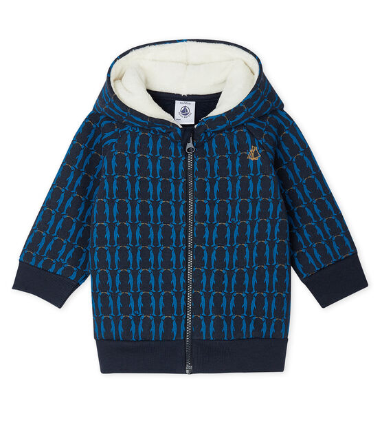 Baby Boys' Printed Fleece Sherpa Lined Hoody Smoking blue / Multico white