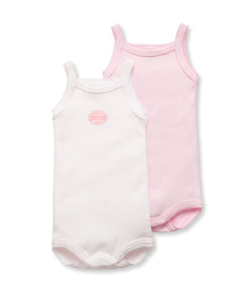 Pack of 2 baby girl plain/milleraies bodysuits with straps . set