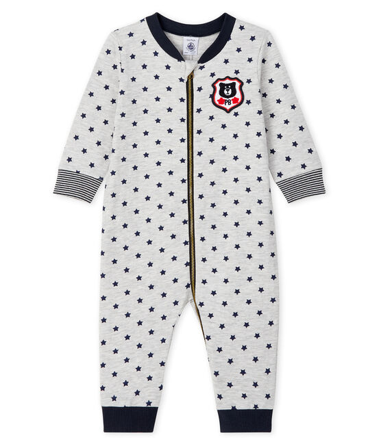 Baby Boys' Long Zipped Jumpsuit Beluga grey / Smoking blue