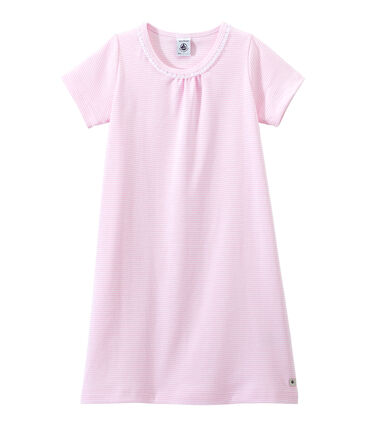 Chemise de nuit fille rayée milleraies Babylone pink / Ecume white