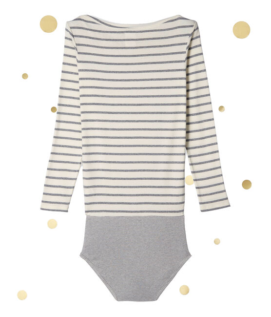 Women's long sleeved body. Petit bateau x Marie-Agnès Gillot Coquille beige / Subway grey
