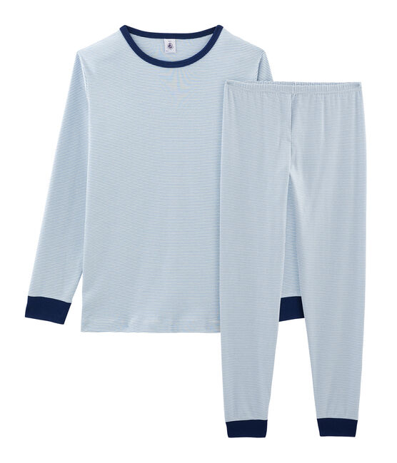 Boys' Ribbed Pyjamas Acier blue / Marshmallow white