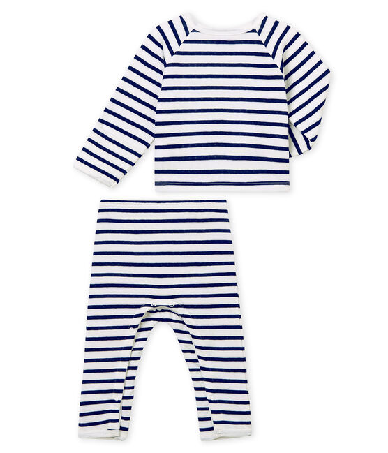 Unisex Babies' Tube-Knit Pyjamas Marshmallow white / Smoking blue