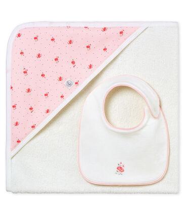 Baby girls' square bath towel and bib