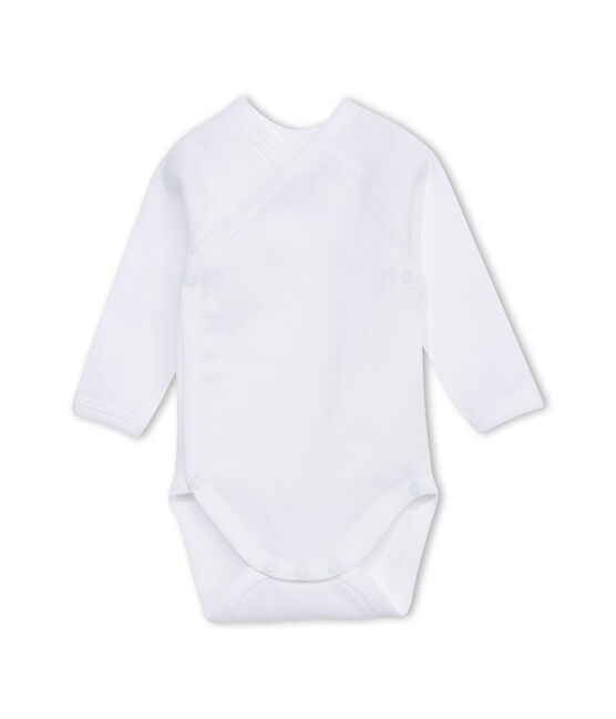Unisex newborn plain long-sleeve bodysuit Ecume white