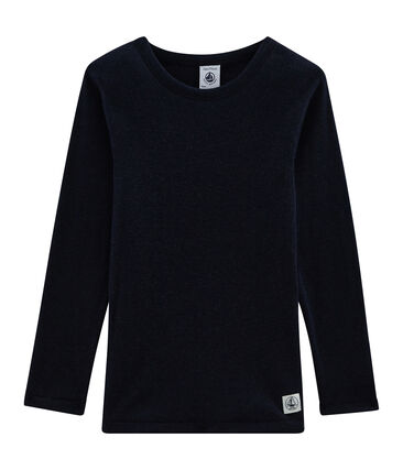 Children's Long-Sleeved T-shirt in Cotton/Wool/Silk Smoking blue