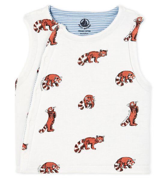 Baby Boys' Reversible Sleeveless Vest in Padded Rib Knit Marshmallow white / Multico white