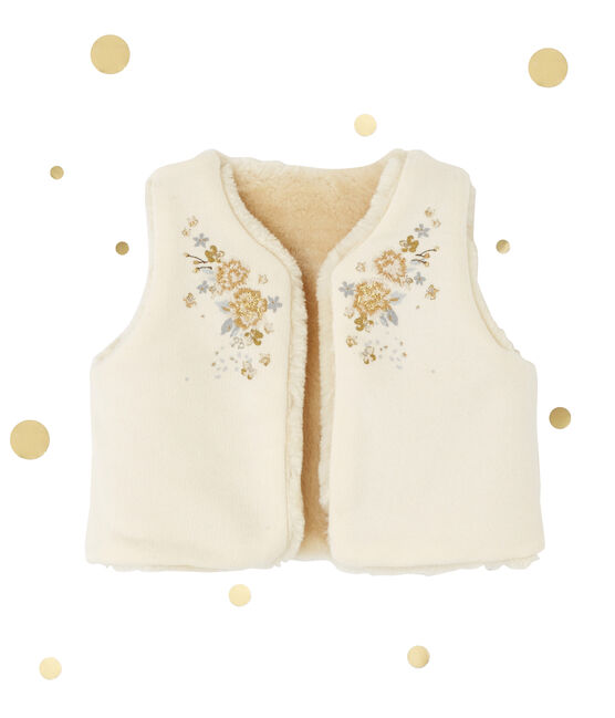 Baby girl's reversible sleeveless cardigan Coquille beige