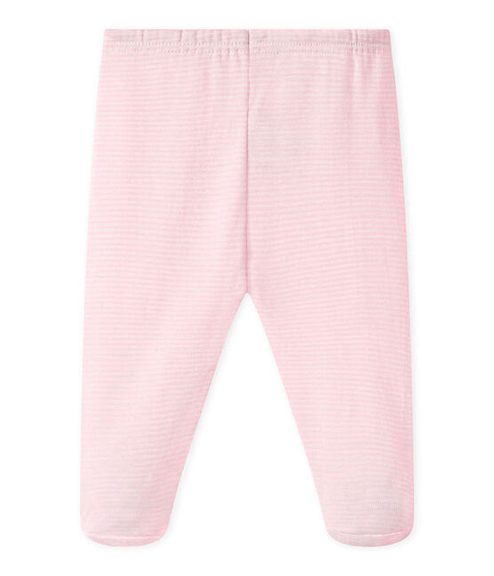 UNISEX BABY PLAIN PANTS WITH FEET Vienne pink / Ecume white