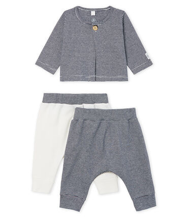 Set of Baby Boys' Ribbed Bottoms Smoking blue / Marshmallow Cn white