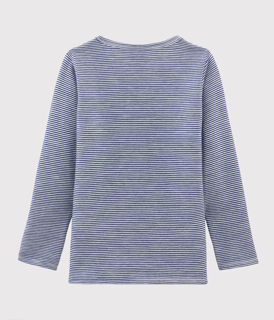 Children's Pinstriped Long-Sleeved Wool and Cotton T-Shirt Medieval blue / Marshmallow white