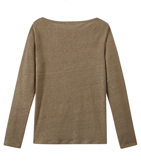 Women's iridescent linen long-sleeve tee Shitake brown / Or yellow