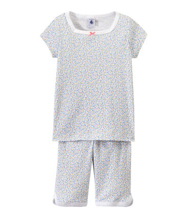 Girl's print shortie pyjamas Ecume white / Multico white