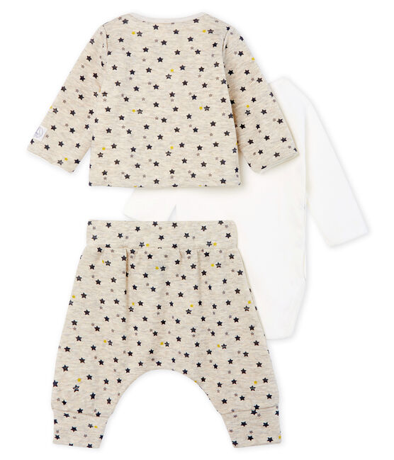 Baby Boys' Wool/Cotton Clothing - 3-piece set Montelimar beige / Multico white