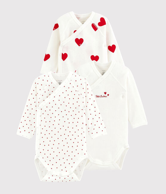 Babies' Long-sleeved Wrapover Red Heart Organic Cotton Bodysuits - 3-Pack . set