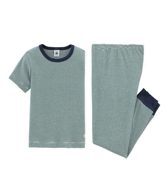 Boys' Short-sleeved Pyjamas Pinede green / Marshmallow white