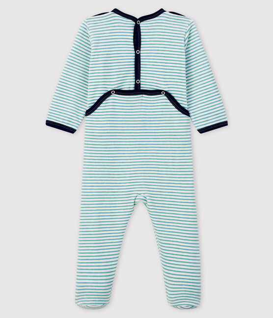 Babies' Striped Velour Sleepsuit MARSHMALLOW/BRUME