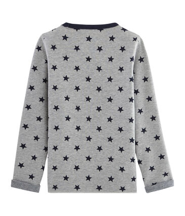 Boys' Warm Reversible T-Shirt Subway grey / Smoking blue