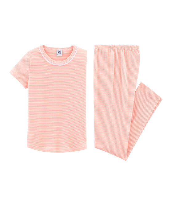 Girls' Short-sleeved Pyjamas Rosako pink / Marshmallow white