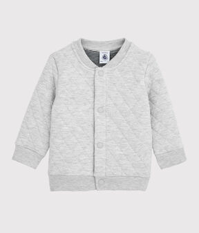 Baby boy's tubular knit cardigan Beluga grey