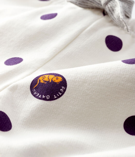 Baby girl's fleece trousers Marshmallow white / Multico white