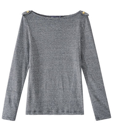 Women's striped linen long-sleeve tee