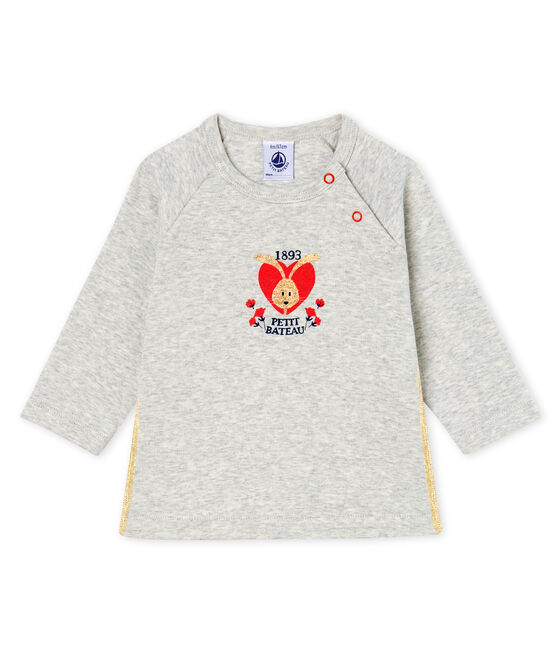 Baby Girls' Long-Sleeved T-Shirt Beluga grey