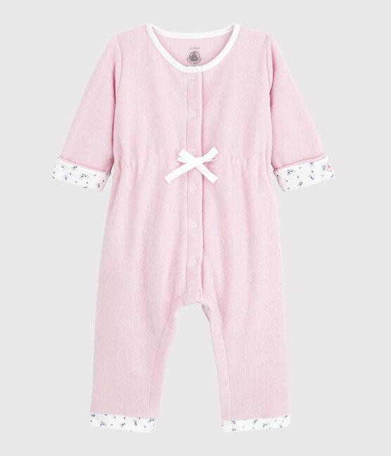 Babies' Long Pink Brushed Terry Jumpsuit Joli pink