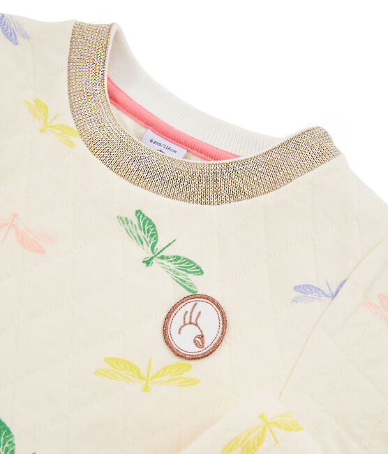 Girls' Dress Coquille beige / Multico white