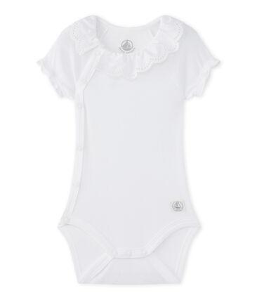 Newborn baby girls' bodysuit Ecume white