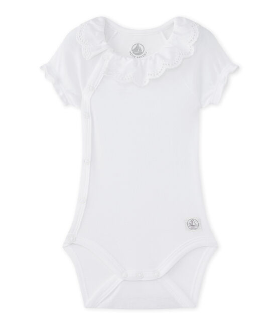 Newborn baby girls' bodysuit Ecume white