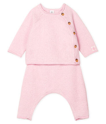Babies' Clothing in Cotton/Merino Wool/Polyester - 2-Piece Set Fleur pink